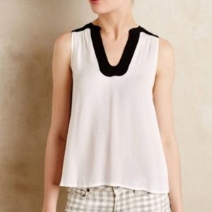 Anthro Maeve Ena Sleeveless White Blouse